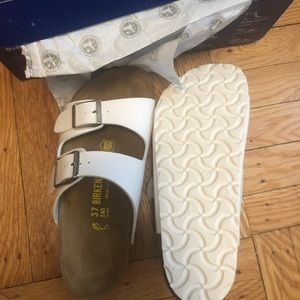 Birkenstock Arizona sandal white on white New 7